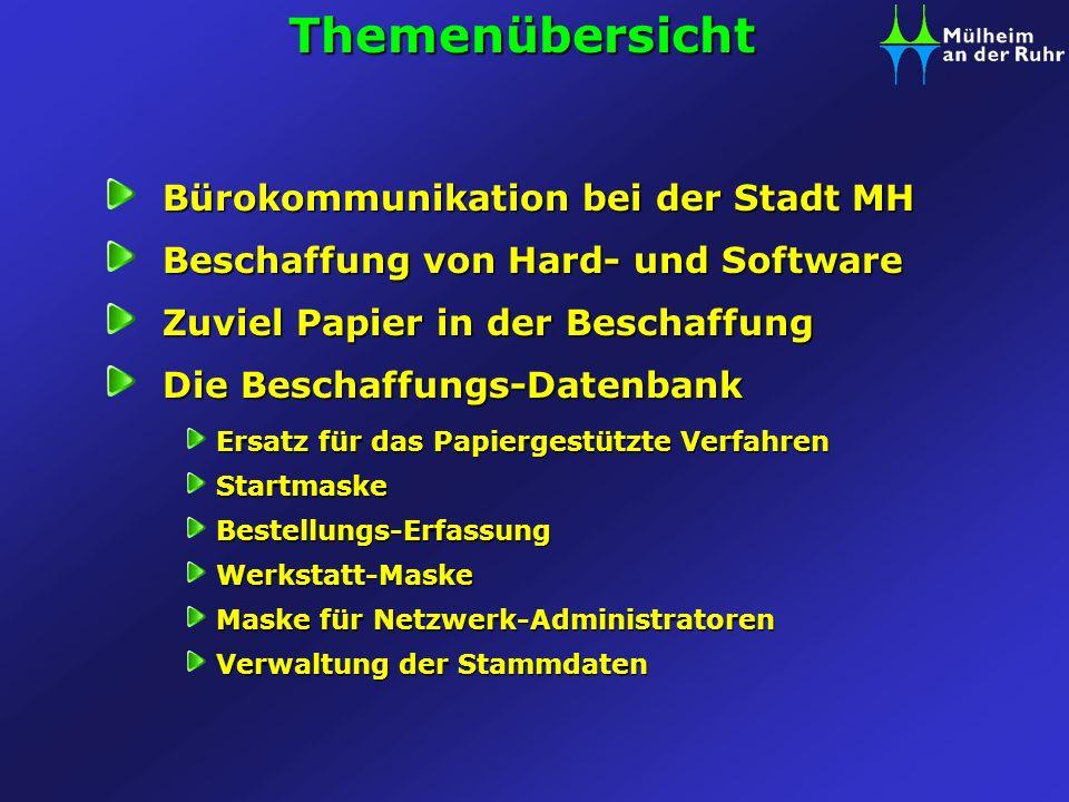 Bürokommunikation bei der Stadt MH zentraler Fileserver (BKNT) Exchange- Server (Outlook) Fax-Server (NTFAX) weitere Server