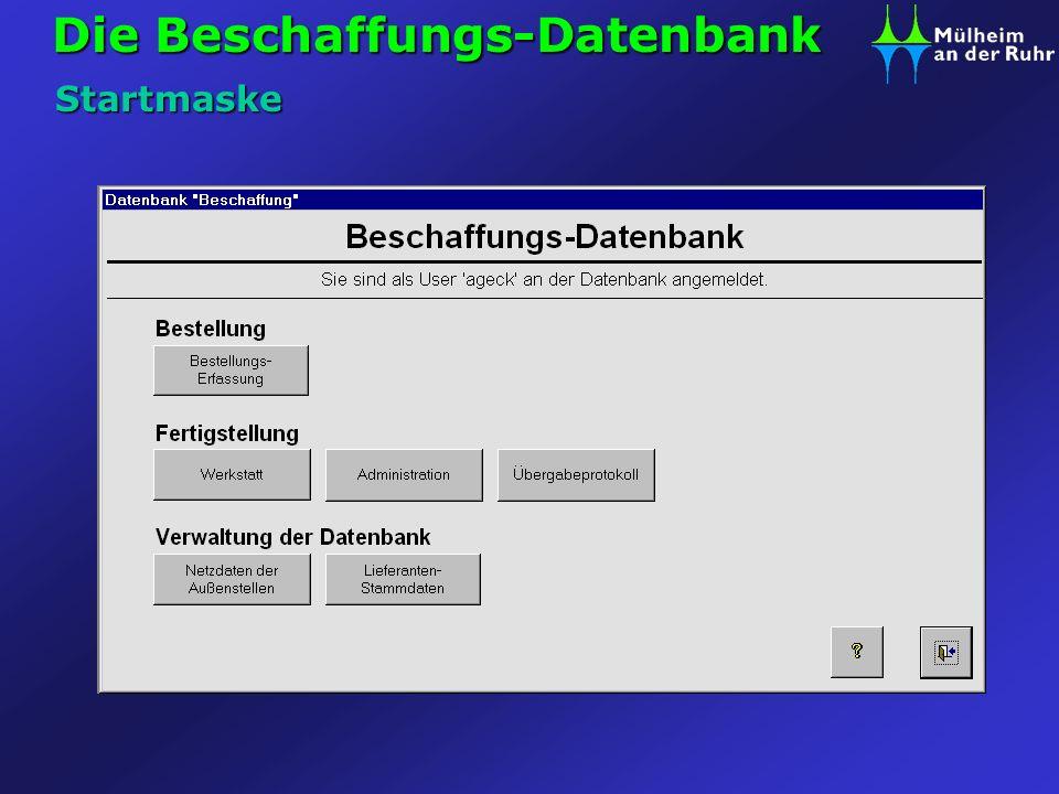 Die Beschaffungs-Datenbank Startmaske