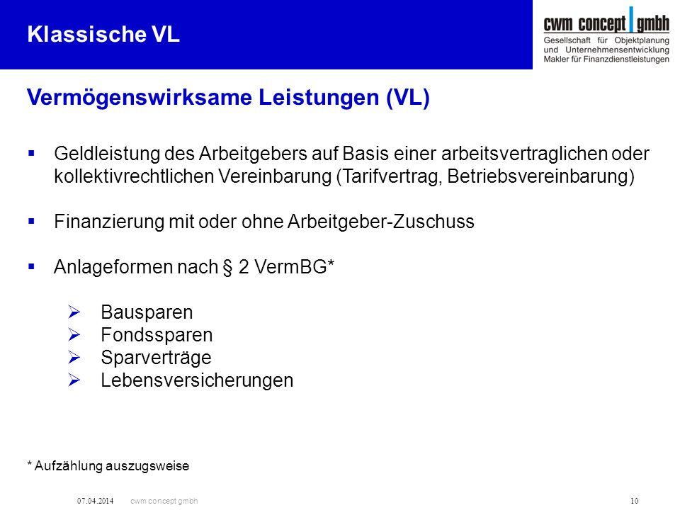 cwm concept gmbh 07.04.2014 10 Vermögenswirksame Leistungen (VL) Klassische VL Geldleistung des Arbeitgebers auf Basis einer arbeitsvertraglichen oder