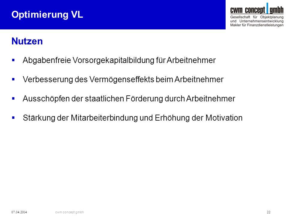 cwm concept gmbh 07.04.2014 22 Optimierung VL Nutzen Abgabenfreie Vorsorgekapitalbildung für Arbeitnehmer Verbesserung des Vermögenseffekts beim Arbei