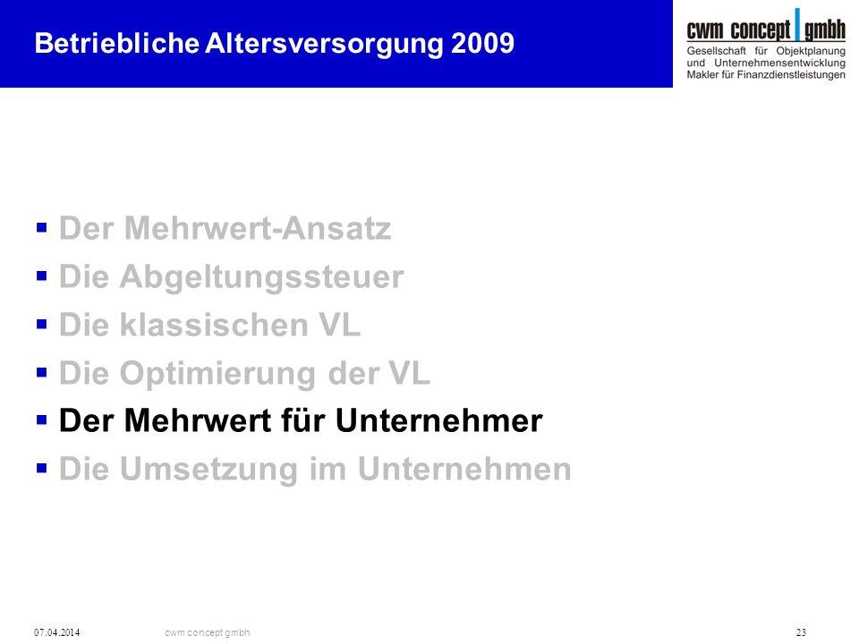 cwm concept gmbh 07.04.2014 23 Betriebliche Altersversorgung 2009 Der Mehrwert-Ansatz Die Abgeltungssteuer Die klassischen VL Die Optimierung der VL D