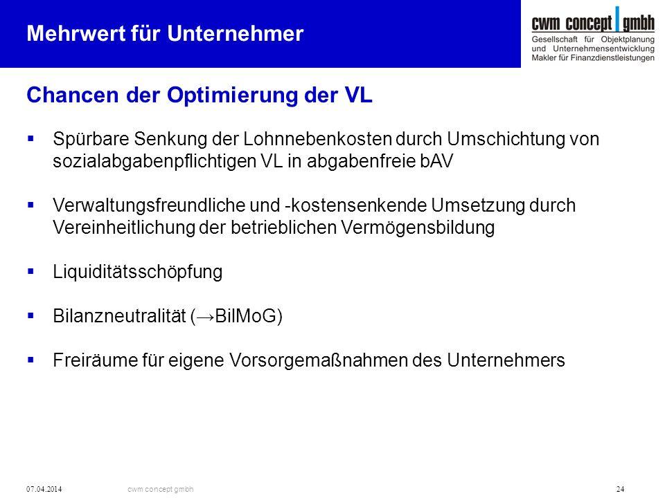 cwm concept gmbh 07.04.2014 24 Mehrwert für Unternehmer Chancen der Optimierung der VL Spürbare Senkung der Lohnnebenkosten durch Umschichtung von soz