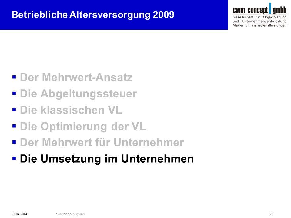 cwm concept gmbh 07.04.2014 29 Betriebliche Altersversorgung 2009 Der Mehrwert-Ansatz Die Abgeltungssteuer Die klassischen VL Die Optimierung der VL D