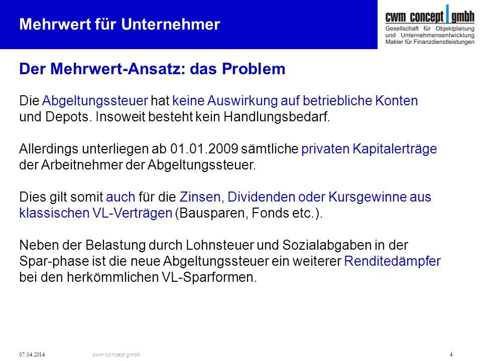 cwm concept gmbh 07.04.2014 4 Mehrwert für Unternehmer Der Mehrwert-Ansatz: das Problem Die Abgeltungssteuer hat keine Auswirkung auf betriebliche Konten und Depots.