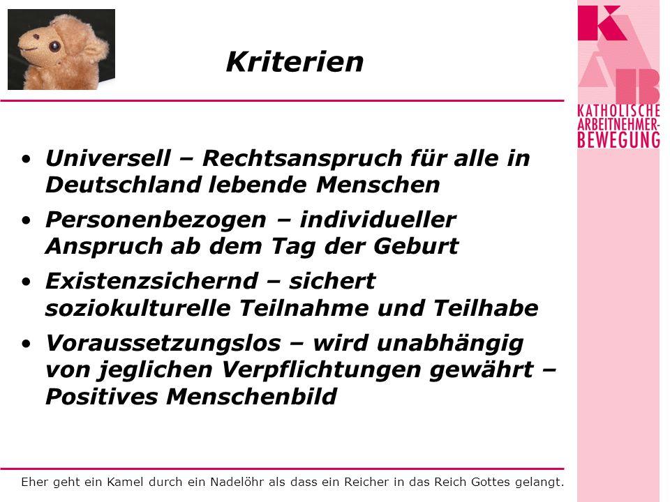 Eher geht ein Kamel durch ein Nadelöhr als dass ein Reicher in das Reich Gottes gelangt. Kriterien Universell – Rechtsanspruch für alle in Deutschland