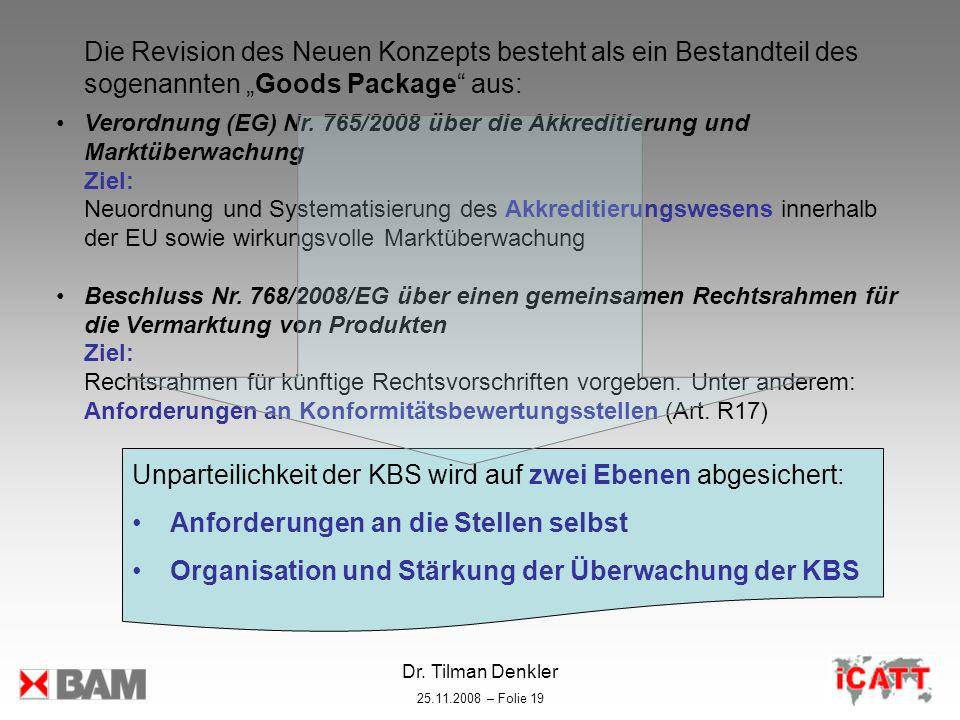 Dr. Tilman Denkler 25.11.2008 – Folie 19 Die Revision des Neuen Konzepts besteht als ein Bestandteil des sogenannten Goods Package aus: Verordnung (EG