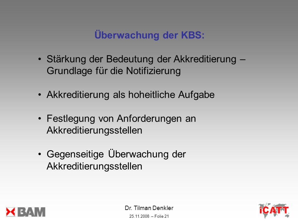 Dr. Tilman Denkler 25.11.2008 – Folie 21 Überwachung der KBS: Stärkung der Bedeutung der Akkreditierung – Grundlage für die Notifizierung Akkreditieru