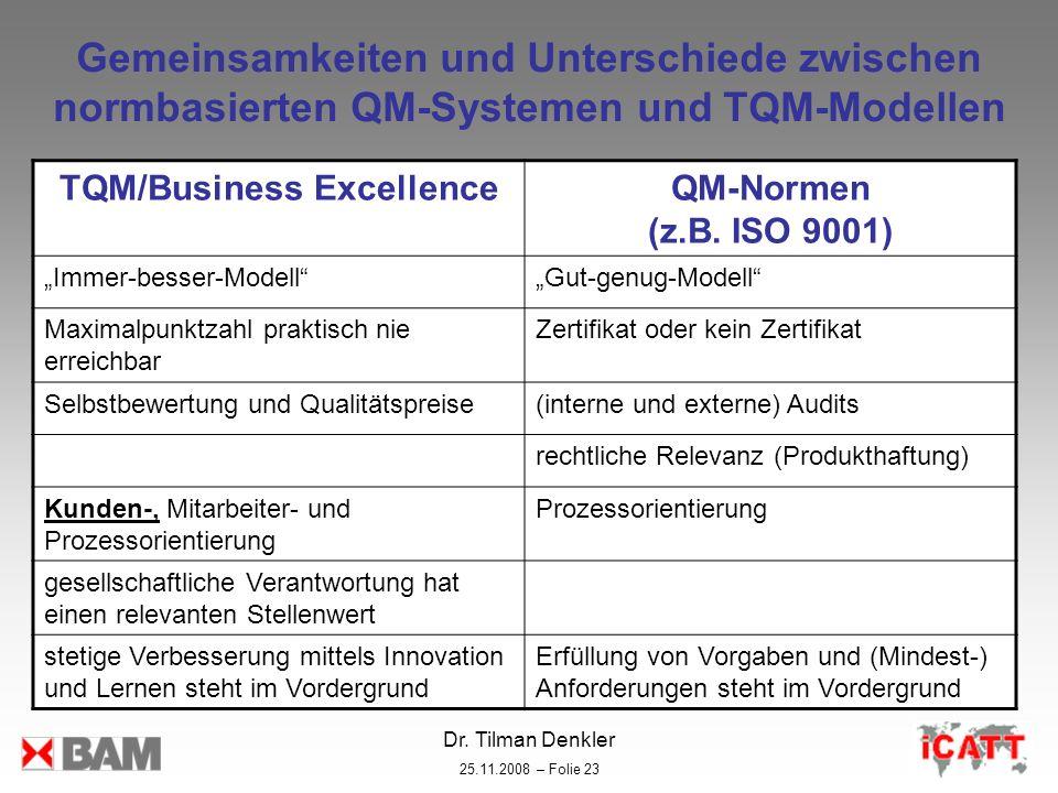 Dr. Tilman Denkler 25.11.2008 – Folie 23 Gemeinsamkeiten und Unterschiede zwischen normbasierten QM-Systemen und TQM-Modellen TQM/Business ExcellenceQ