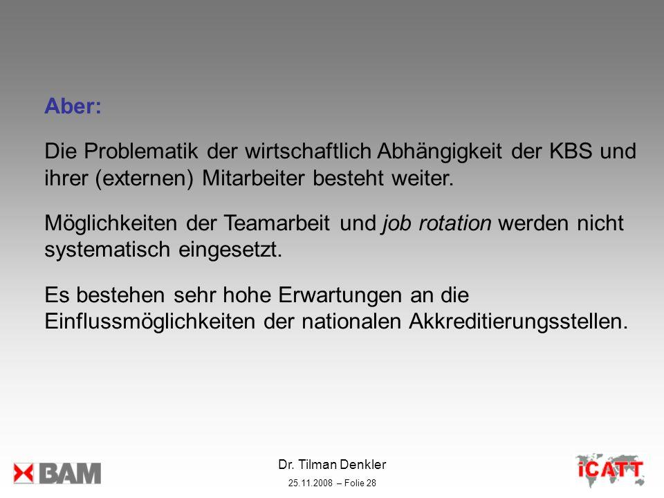 Dr. Tilman Denkler 25.11.2008 – Folie 28 Aber: Die Problematik der wirtschaftlich Abhängigkeit der KBS und ihrer (externen) Mitarbeiter besteht weiter