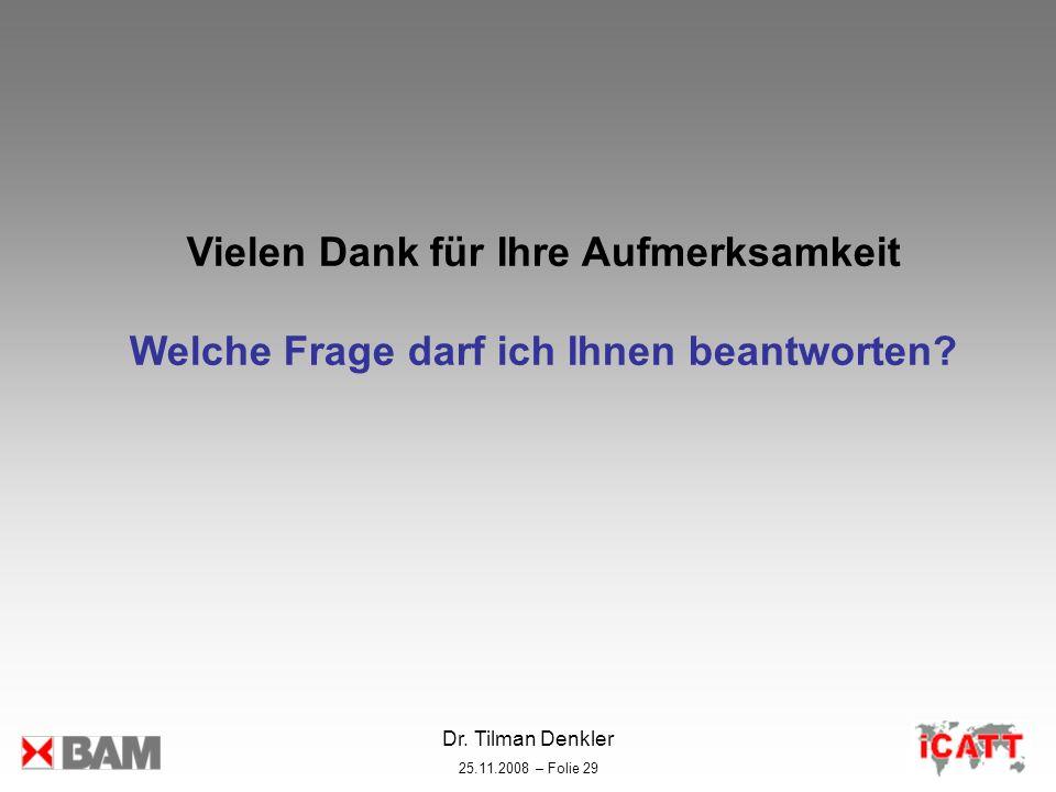 Dr. Tilman Denkler 25.11.2008 – Folie 29 Vielen Dank für Ihre Aufmerksamkeit Welche Frage darf ich Ihnen beantworten?