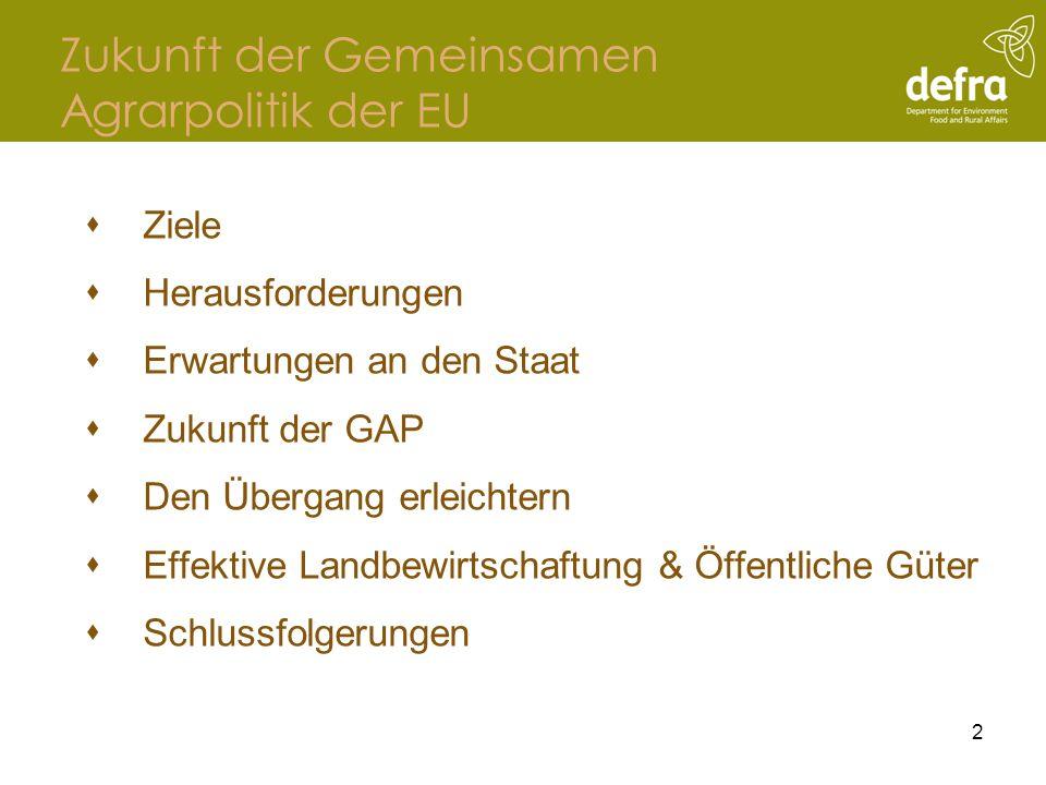 Ziele Eine erfolgreiche europäische Agrarwirtschaft, die verbrauchergerecht produziert und damit Arbeitsplätze im ländlichen Raum sichert Eine effektive Bewirtschaftung unserer natürlichen Umwelt durch unsere Landwirte 3