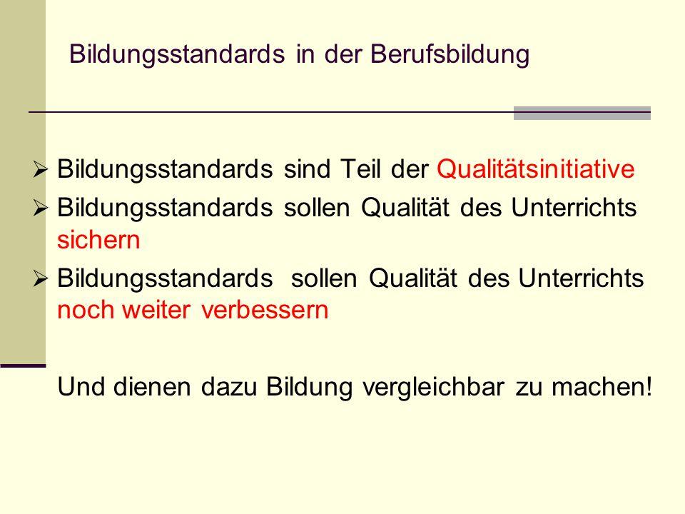 Bildungsstandards in der Berufsbildung Bildungsstandards sind Teil der Qualitätsinitiative Bildungsstandards sollen Qualität des Unterrichts sichern B