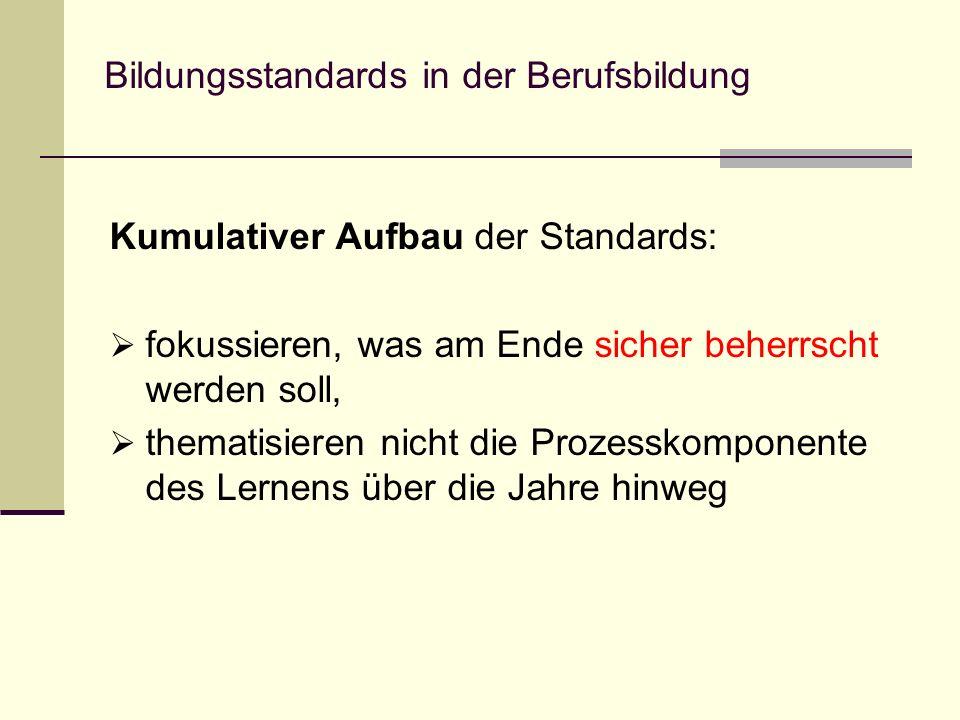 Bildungsstandards in der Berufsbildung Kumulativer Aufbau der Standards: fokussieren, was am Ende sicher beherrscht werden soll, thematisieren nicht d