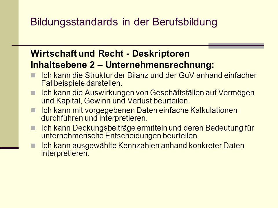 Bildungsstandards in der Berufsbildung Wirtschaft und Recht - Deskriptoren Inhaltsebene 2 – Unternehmensrechnung: Ich kann die Struktur der Bilanz und der GuV anhand einfacher Fallbeispiele darstellen.