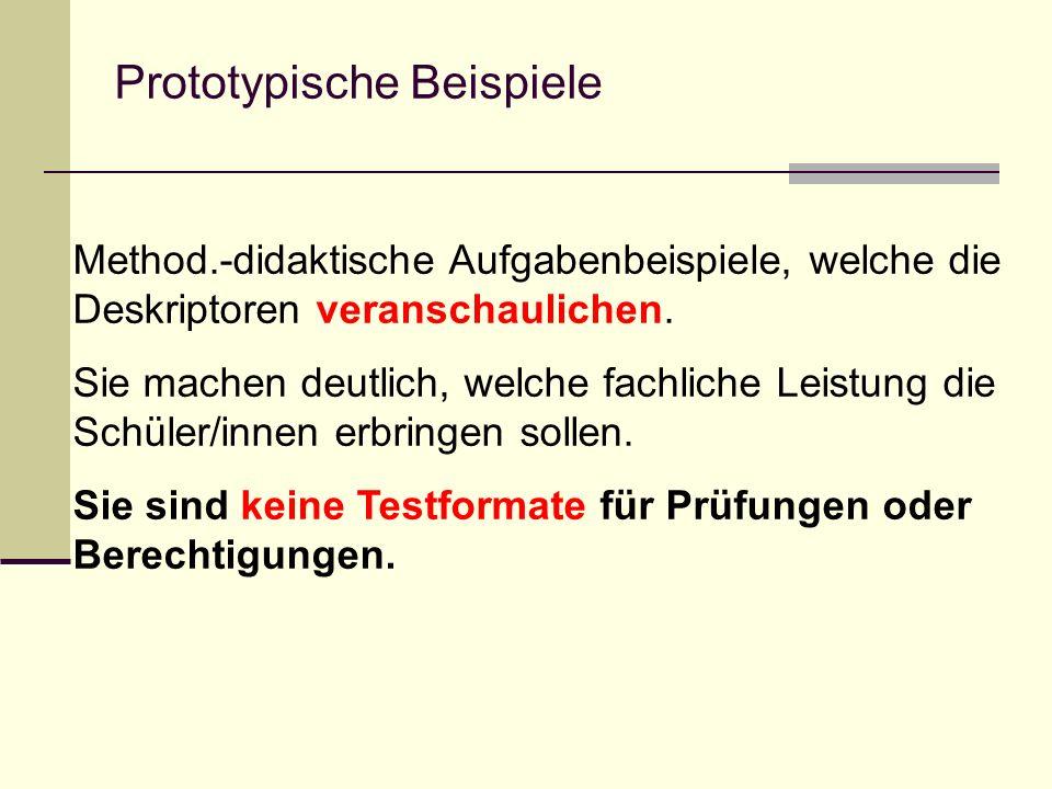 Prototypische Beispiele Method.-didaktische Aufgabenbeispiele, welche die Deskriptoren veranschaulichen. Sie machen deutlich, welche fachliche Leistun