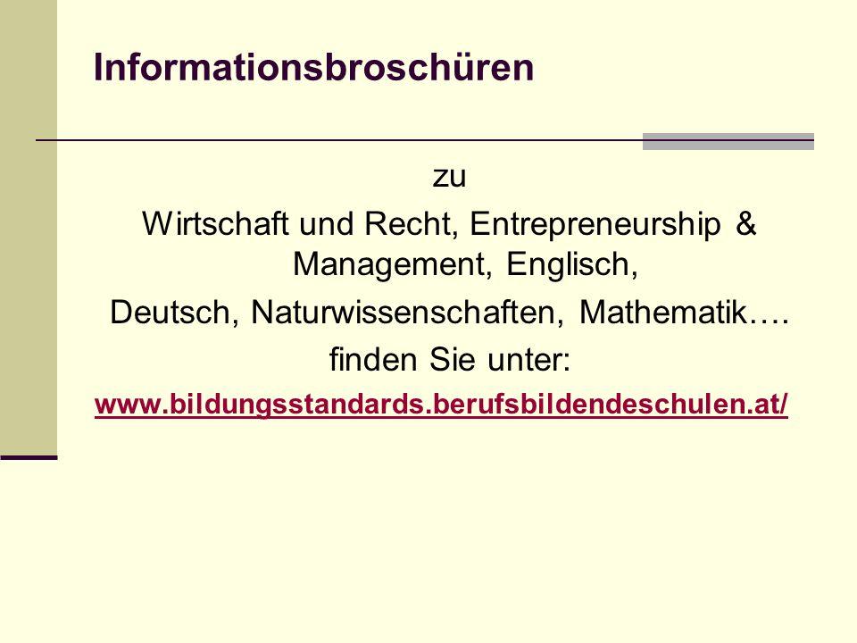Informationsbroschüren zu Wirtschaft und Recht, Entrepreneurship & Management, Englisch, Deutsch, Naturwissenschaften, Mathematik….