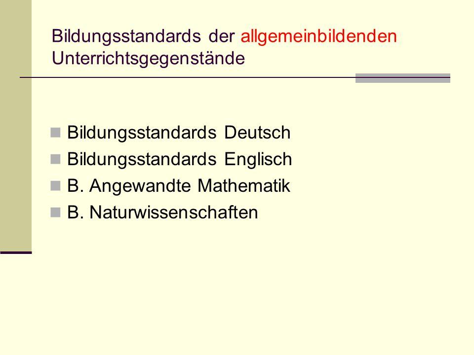 Bildungsstandards der allgemeinbildenden Unterrichtsgegenstände Bildungsstandards Deutsch Bildungsstandards Englisch B. Angewandte Mathematik B. Natur
