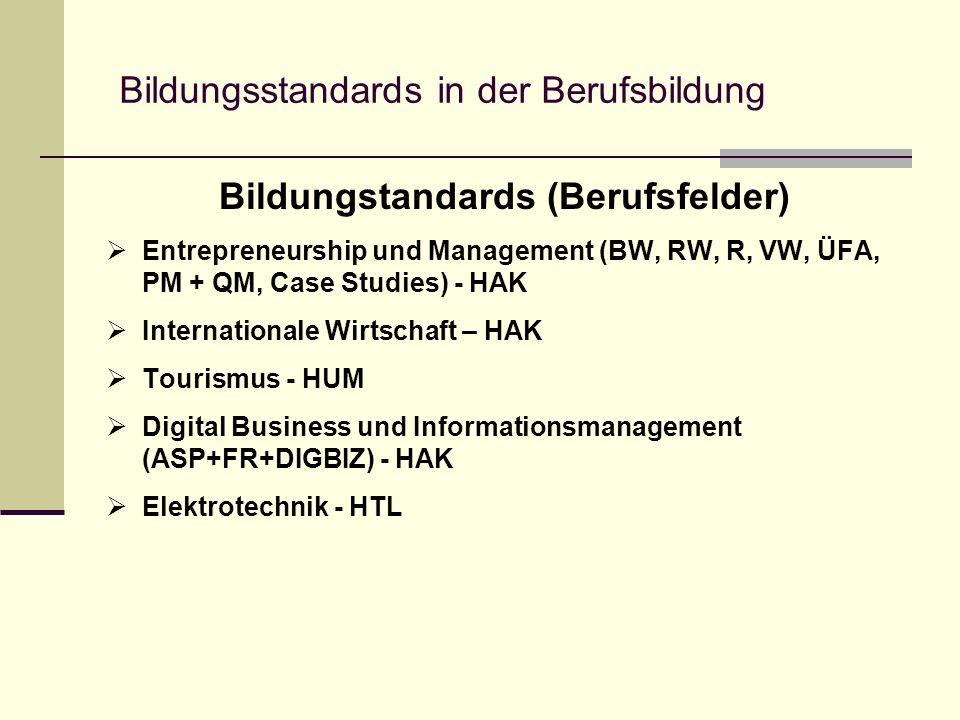 Bildungstandards (Berufsfelder) Entrepreneurship und Management (BW, RW, R, VW, ÜFA, PM + QM, Case Studies) - HAK Internationale Wirtschaft – HAK Tourismus - HUM Digital Business und Informationsmanagement (ASP+FR+DIGBIZ) - HAK Elektrotechnik - HTL Bildungsstandards in der Berufsbildung