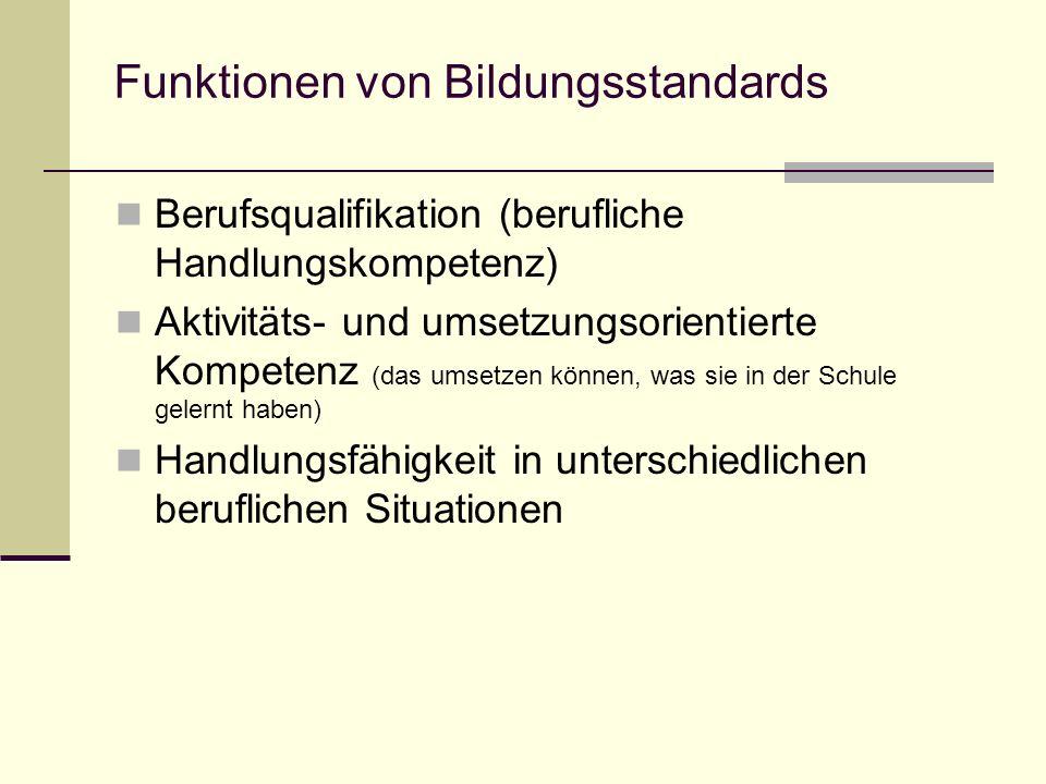 Bildungsstandards bestehen aus: Kompetenzmodell (Inhaltsebene + Handlungsebene) Deskriptoren Prototypischen / Unterrichtsbeispielen (Testitems?)