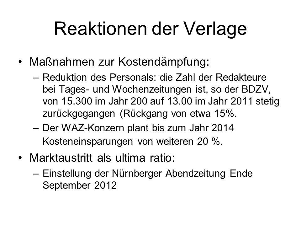Reaktionen der Verlage Maßnahmen zur Kostendämpfung: –Reduktion des Personals: die Zahl der Redakteure bei Tages- und Wochenzeitungen ist, so der BDZV, von 15.300 im Jahr 200 auf 13.00 im Jahr 2011 stetig zurückgegangen (Rückgang von etwa 15%.