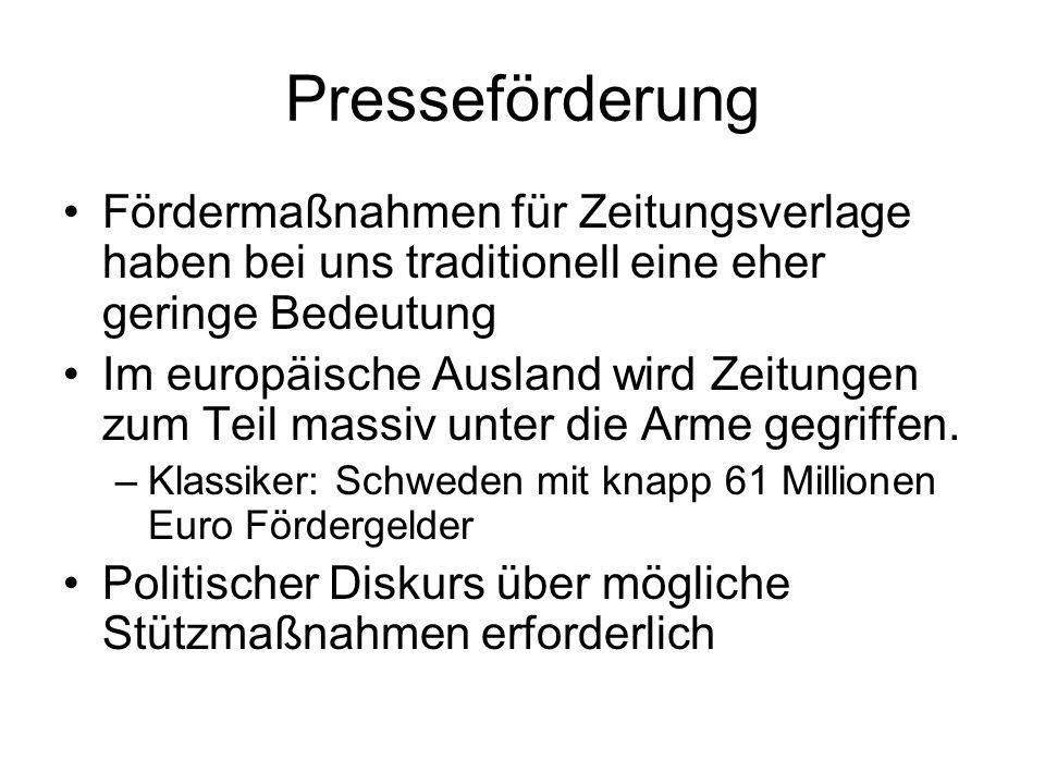Presseförderung Fördermaßnahmen für Zeitungsverlage haben bei uns traditionell eine eher geringe Bedeutung Im europäische Ausland wird Zeitungen zum Teil massiv unter die Arme gegriffen.