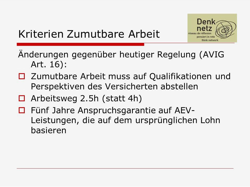 Kriterien Zumutbare Arbeit Änderungen gegenüber heutiger Regelung (AVIG Art. 16): Zumutbare Arbeit muss auf Qualifikationen und Perspektiven des Versi