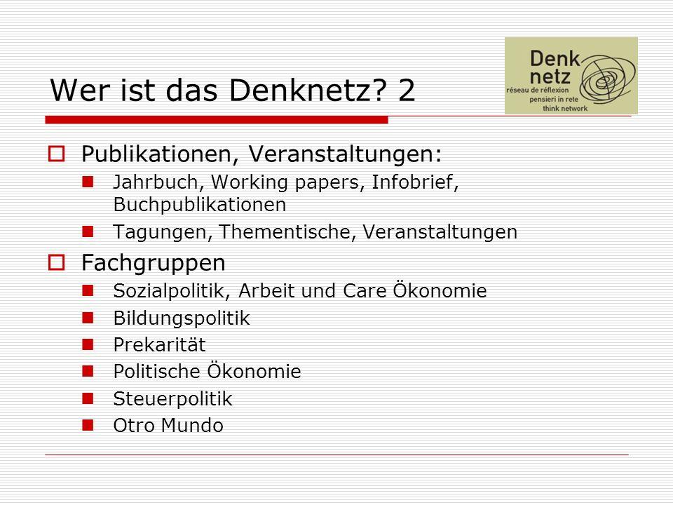 Wer ist das Denknetz? 2 Publikationen, Veranstaltungen: Jahrbuch, Working papers, Infobrief, Buchpublikationen Tagungen, Thementische, Veranstaltungen