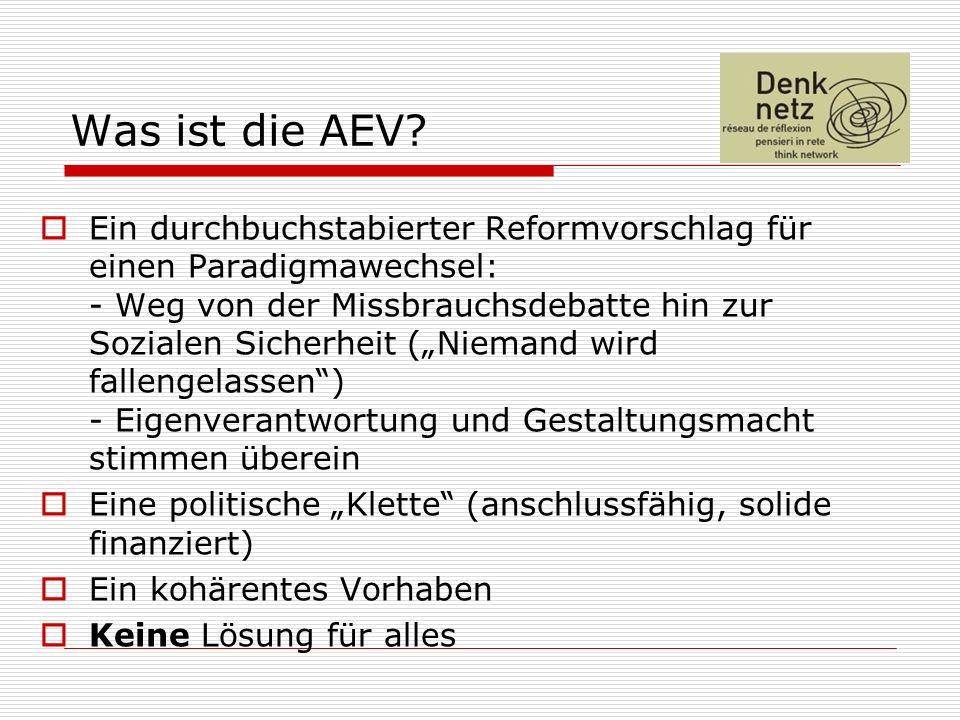 Was ist die AEV? Ein durchbuchstabierter Reformvorschlag für einen Paradigmawechsel: - Weg von der Missbrauchsdebatte hin zur Sozialen Sicherheit (Nie