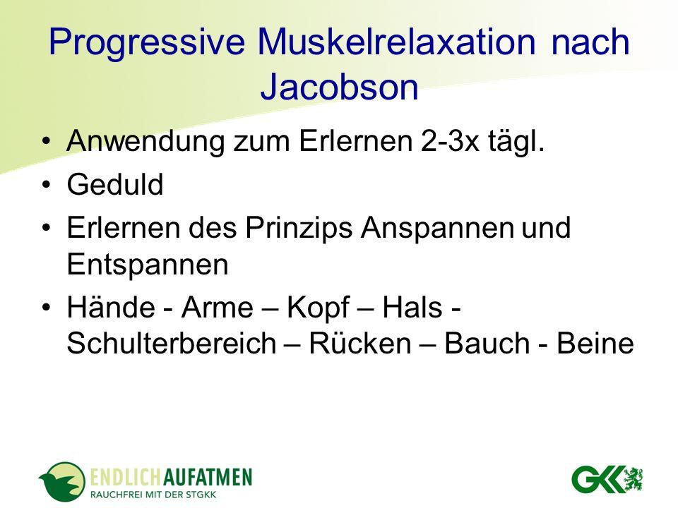 Progressive Muskelrelaxation nach Jacobson Vorbereitung Ruhiger Raum Legen, oder setzen Sie sich hin Entspannen für 1 bis 2 Minuten Üben Sie nicht länger als 20 min Anspannen der Muskelgruppen für 5sec Entspannen Sie die Muskelgruppe für ca.15 bis 20sec.