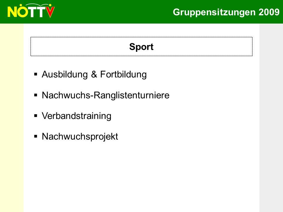 Gruppensitzungen 2009 Sport Ausbildung & Fortbildung Nachwuchs-Ranglistenturniere Verbandstraining Nachwuchsprojekt