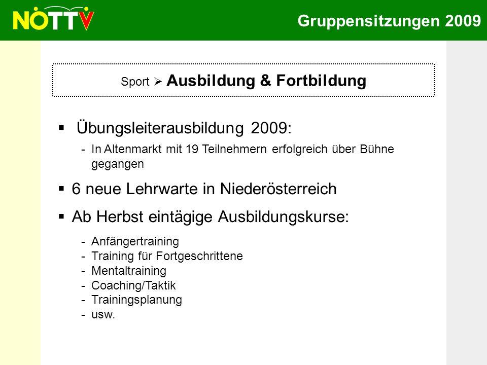 Gruppensitzungen 2009 Sport Ausbildung & Fortbildung Übungsleiterausbildung 2009: -In Altenmarkt mit 19 Teilnehmern erfolgreich über Bühne gegangen 6
