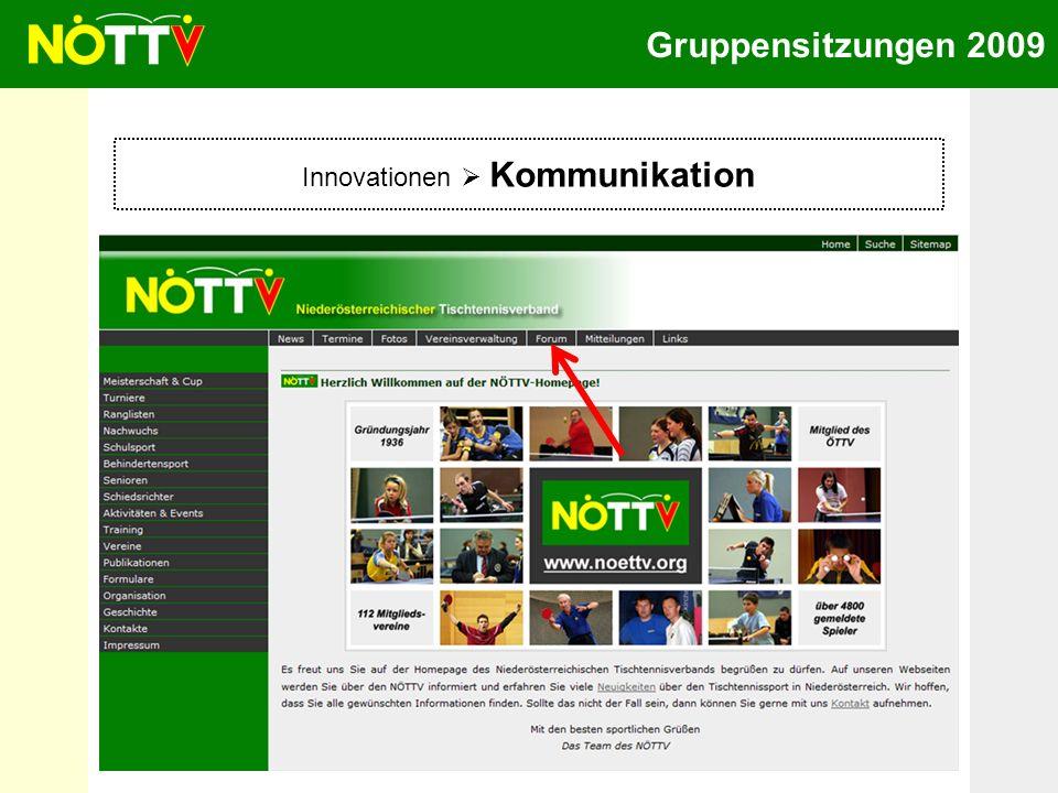 Gruppensitzungen 2009 Innovationen Kommunikation Mitgliederforum statt Gästebuch -Keine anonymen Beiträge -Diskussion und Anregungen erwünscht