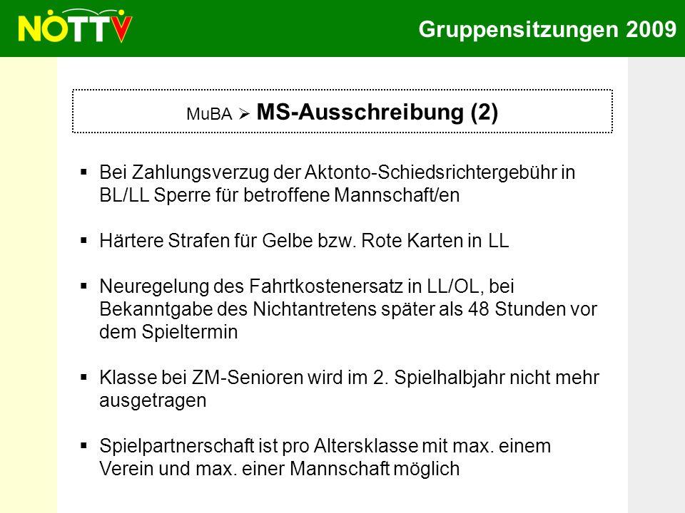 Gruppensitzungen 2009 MuBA MS-Ausschreibung (2) Bei Zahlungsverzug der Aktonto-Schiedsrichtergebühr in BL/LL Sperre für betroffene Mannschaft/en Härte