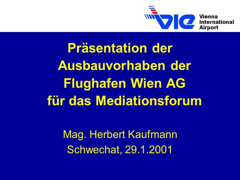 Präsentation der Ausbauvorhaben der Flughafen Wien AG für das Mediationsforum Mag. Herbert Kaufmann Schwechat, 29.1.2001