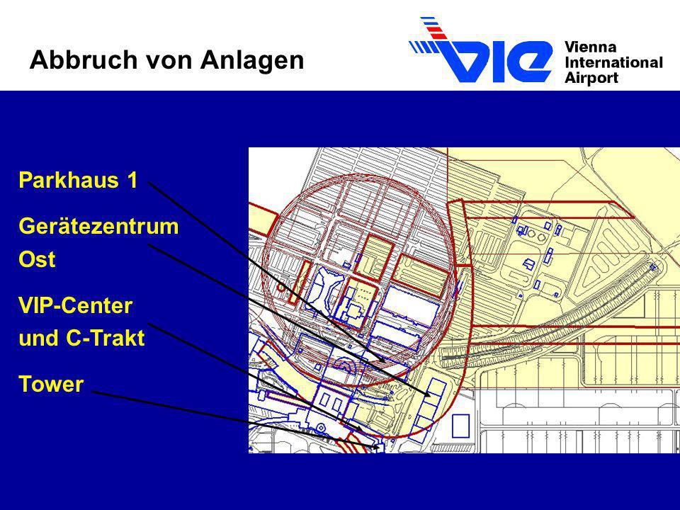 Abbruch von Anlagen Parkhaus 1 Gerätezentrum Ost VIP-Center und C-Trakt Tower
