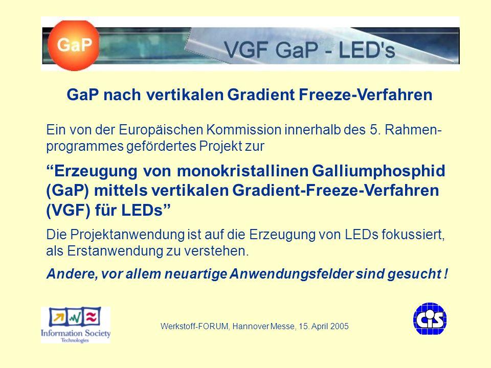 VGF - GaP LEDs Ziel des Projektes VGF GaP - LEDs GaP-Substrat mit geringer struktureller Defektdichte (Zahl der strukturellen Defekte um den Faktor 100 - 1000 kleiner als beim Czochralski-Verfahren) Projektanwendungsfokus: Substrat für LEDs (unter Nutzung der Defektarmut und Materialtransparenz Erzeugung von Epi-Schichten auf GaP mit MOVPE Neuer LED-Zugang: direkt auf GaP gewachsene LEDs Validierung des GaP-Substrates anhand epi-ready Wafers Werkstoff-FORUM, Hannover Messe, 15.