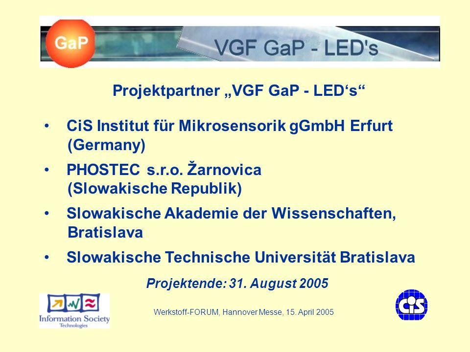 VGF - GaP LEDs Kontakt Werkstoff-FORUM, Hannover Messe, 15.