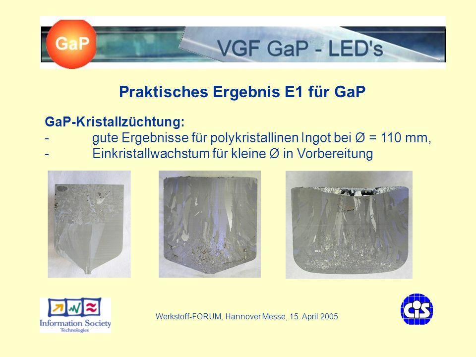 VGF - GaP LEDs Praktisches Ergebnis E1 für GaP GaP-Kristallzüchtung: - gute Ergebnisse für polykristallinen Ingot bei Ø = 110 mm, - Einkristallwachstum für kleine Ø in Vorbereitung Werkstoff-FORUM, Hannover Messe, 15.