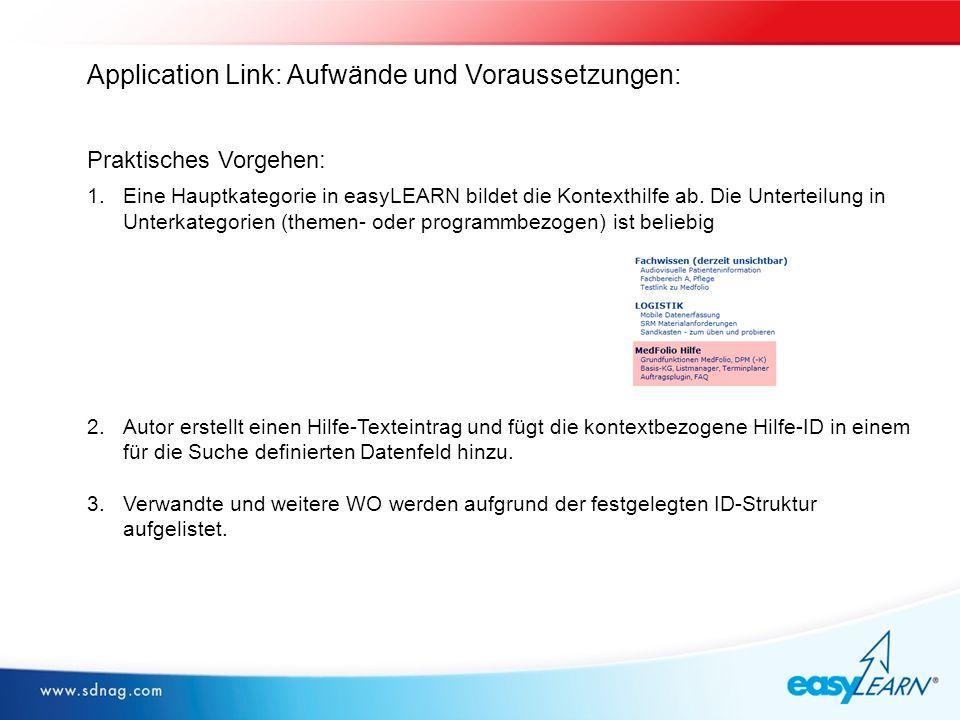 Application Link: Aufwände und Voraussetzungen: Praktisches Vorgehen: 1.Eine Hauptkategorie in easyLEARN bildet die Kontexthilfe ab.