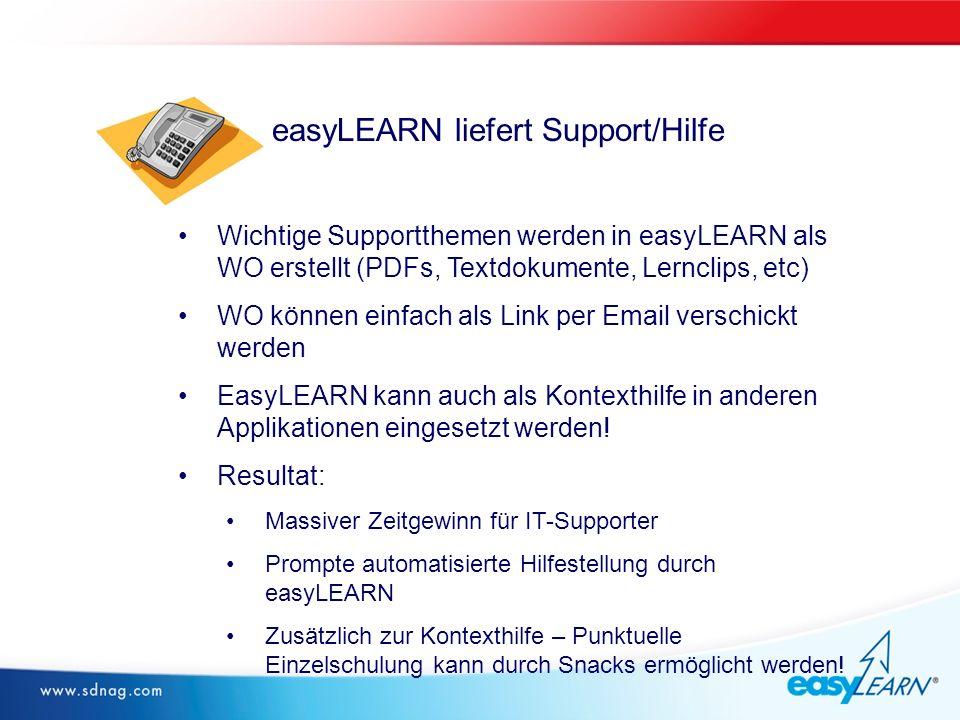 Wichtige Supportthemen werden in easyLEARN als WO erstellt (PDFs, Textdokumente, Lernclips, etc) WO können einfach als Link per Email verschickt werden EasyLEARN kann auch als Kontexthilfe in anderen Applikationen eingesetzt werden.