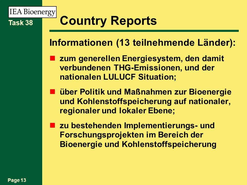 Page 13 Task 38 Country Reports Informationen (13 teilnehmende Länder): zum generellen Energiesystem, den damit verbundenen THG-Emissionen, und der nationalen LULUCF Situation; über Politik und Maßnahmen zur Bioenergie und Kohlenstoffspeicherung auf nationaler, regionaler und lokaler Ebene; zu bestehenden Implementierungs- und Forschungsprojekten im Bereich der Bioenergie und Kohlenstoffspeicherung