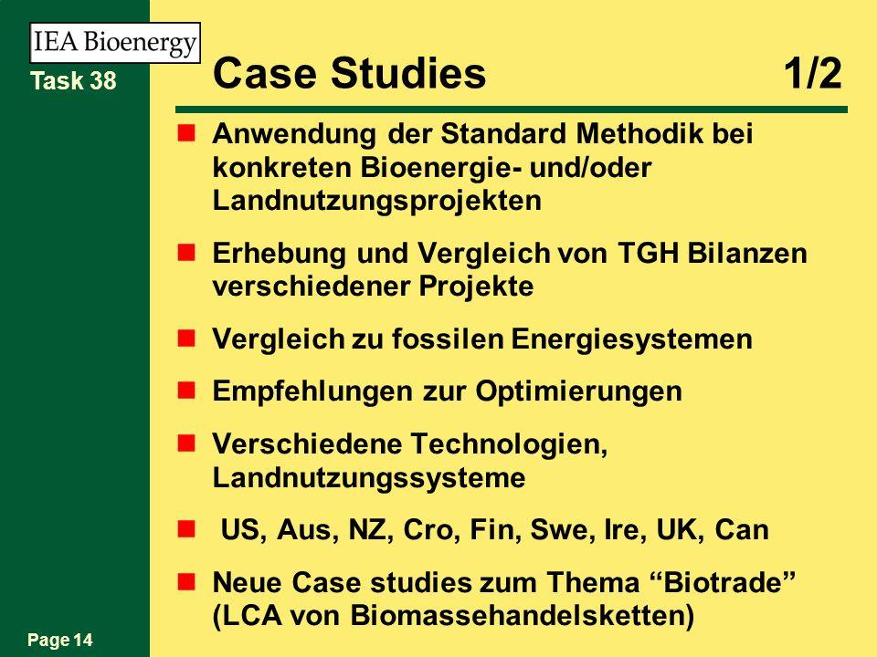 Page 14 Task 38 Case Studies1/2 Anwendung der Standard Methodik bei konkreten Bioenergie- und/oder Landnutzungsprojekten Erhebung und Vergleich von TGH Bilanzen verschiedener Projekte Vergleich zu fossilen Energiesystemen Empfehlungen zur Optimierungen Verschiedene Technologien, Landnutzungssysteme US, Aus, NZ, Cro, Fin, Swe, Ire, UK, Can Neue Case studies zum Thema Biotrade (LCA von Biomassehandelsketten)