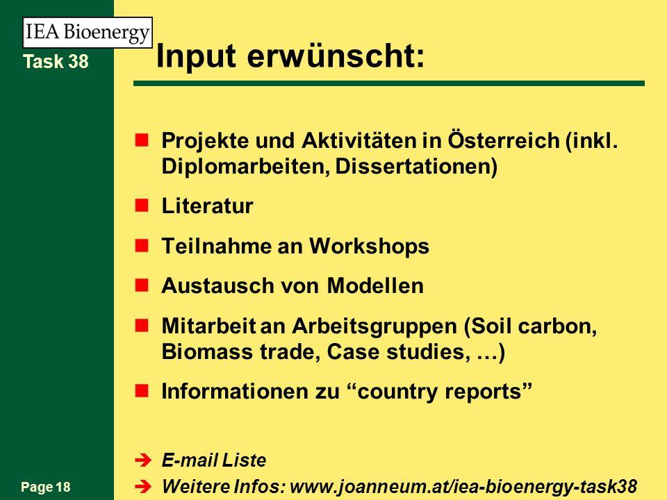 Page 18 Task 38 Input erwünscht: Projekte und Aktivitäten in Österreich (inkl. Diplomarbeiten, Dissertationen) Literatur Teilnahme an Workshops Austau