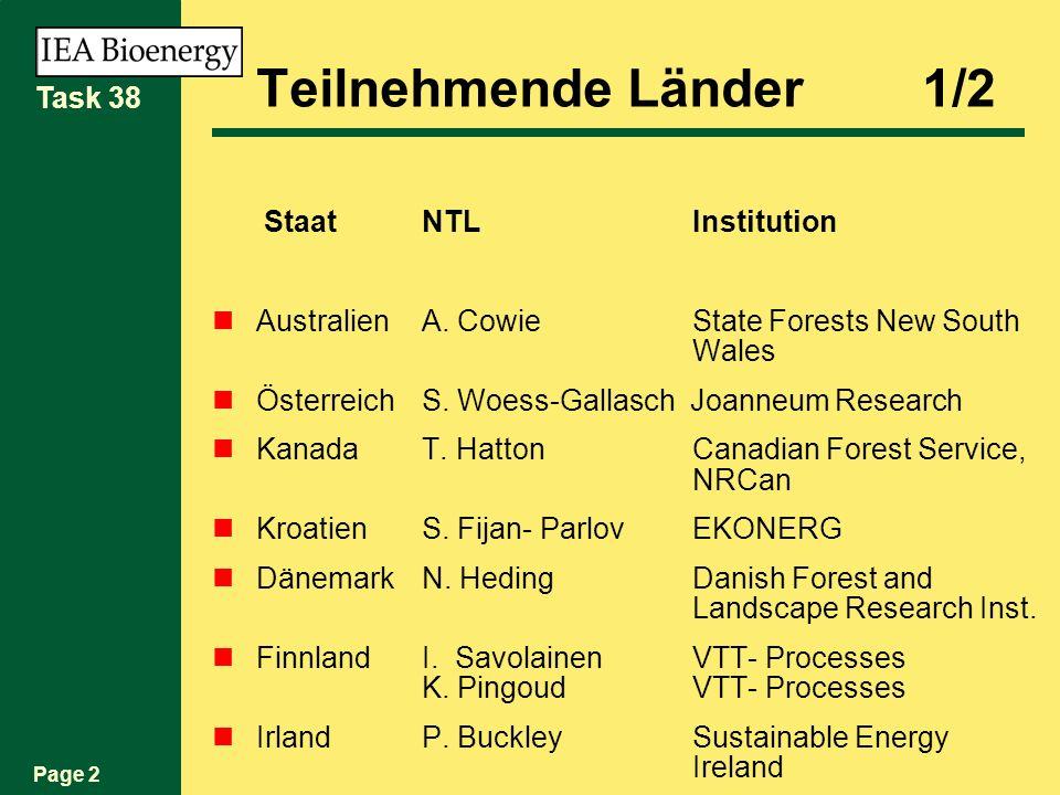 Page 2 Task 38 Teilnehmende Länder 1/2 StaatNTL Institution AustralienA. Cowie State Forests New South Wales ÖsterreichS. Woess-Gallasch Joanneum Rese