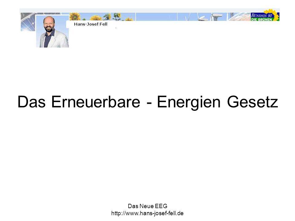 Das Neue EEG http://www.hans-josef-fell.de § 1 Zweck des Gesetzes Nachhaltige Energieversorgung für Klima-, Natur- und Umweltschutz Beitrag zur Vermeidung von Konflikten um fossile Rohstoffe Technologische Weiterentwicklung