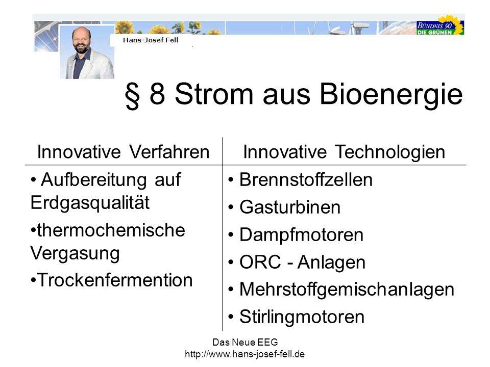 Das Neue EEG http://www.hans-josef-fell.de Innovative VerfahrenInnovative Technologien Aufbereitung auf Erdgasqualität thermochemische Vergasung Trock