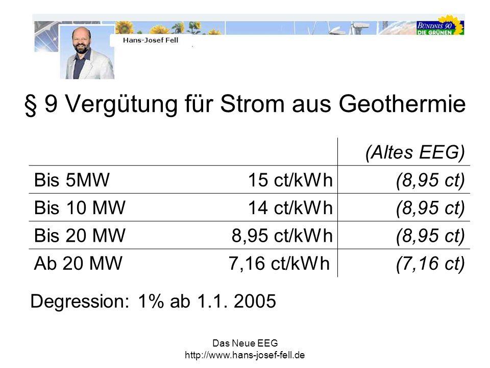 Das Neue EEG http://www.hans-josef-fell.de § 9 Vergütung für Strom aus Geothermie (Altes EEG) Bis 5MW 15 ct/kWh(8,95 ct) Bis 10 MW 14 ct/kWh(8,95 ct)