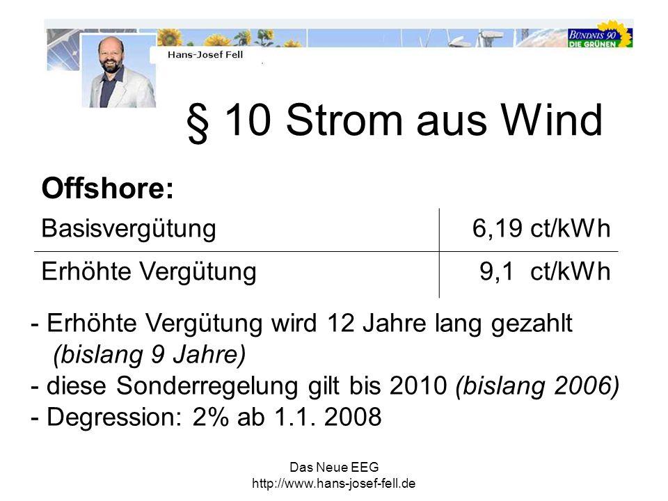 Das Neue EEG http://www.hans-josef-fell.de Offshore: Basisvergütung6,19 ct/kWh Erhöhte Vergütung9,1 ct/kWh - Erhöhte Vergütung wird 12 Jahre lang geza