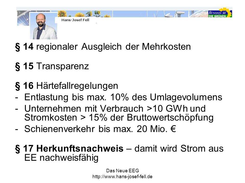Das Neue EEG http://www.hans-josef-fell.de § 14 regionaler Ausgleich der Mehrkosten § 15 Transparenz § 16 Härtefallregelungen -Entlastung bis max. 10%