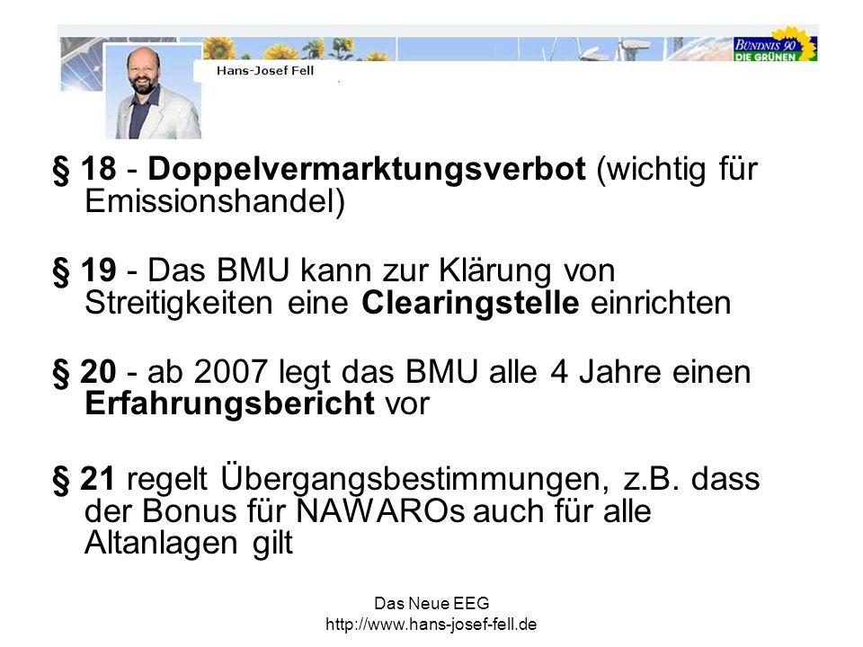Das Neue EEG http://www.hans-josef-fell.de § 18 - Doppelvermarktungsverbot (wichtig für Emissionshandel) § 19 - Das BMU kann zur Klärung von Streitigk